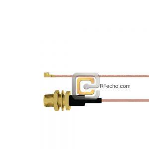 UMCX 2.5 Plug to SMA Female Bulkhead RG-178DS Coax and RoHS F075-451S0-320S1-30-N