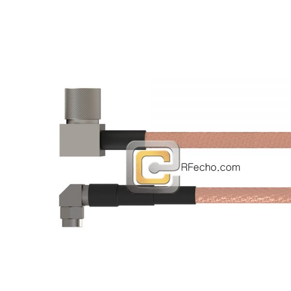 Right Angle 10-32 Male to Right Angle SMA Male RG-316 Coax and RoHS F065-121R0-321R0-20-N