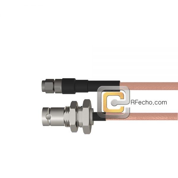 BNC Female Bulkhead to SMA Male RG-316 Coax and RoHS F065-220S1-321S0-30-N