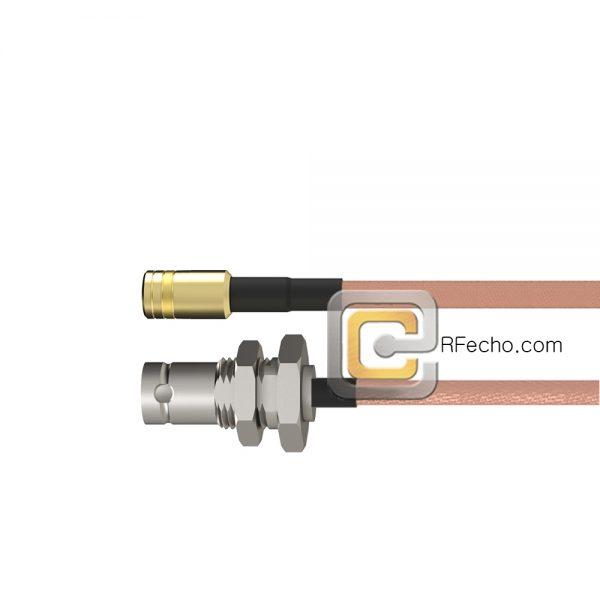 BNC Female Bulkhead to SMB Plug RG-316 Coax and RoHS F065-220S1-331S0-30-N
