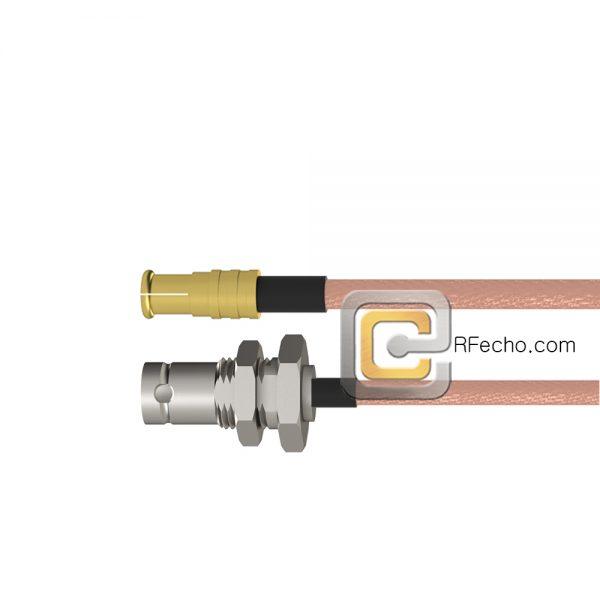 MCX Plug to BNC Female Bulkhead RG-316 Coax and RoHS F065-251S0-220S1-30-N