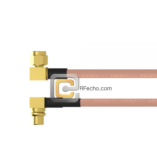 Right Angle MMCX Plug to Right Angle SMC Plug RG-316 Coax and RoHS F065-271R0-341R0-30-N
