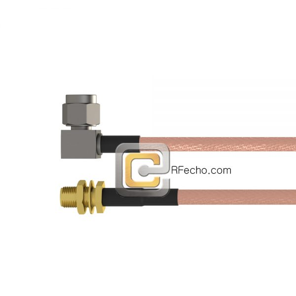 SMA Female Bulkhead to Right Angle SSMA Male RG-316 Coax and RoHS F065-320S1-361R0-30-N