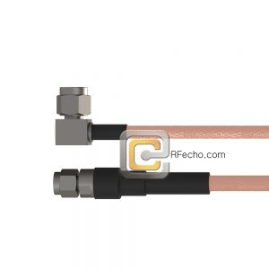 Right Angle SSMA Male to SMA Male RG-316 Coax and RoHS F065-361R0-321S0-30-N