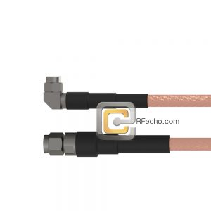 SMA Male to Right Angle SMA Male RG-58 Coax and RoHS F070-321S0-321R0-50-N