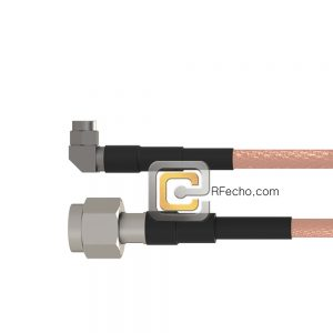 TNC Male to Right Angle SMA Male RG-58 Coax and RoHS F070-411S0-321R0-50-N
