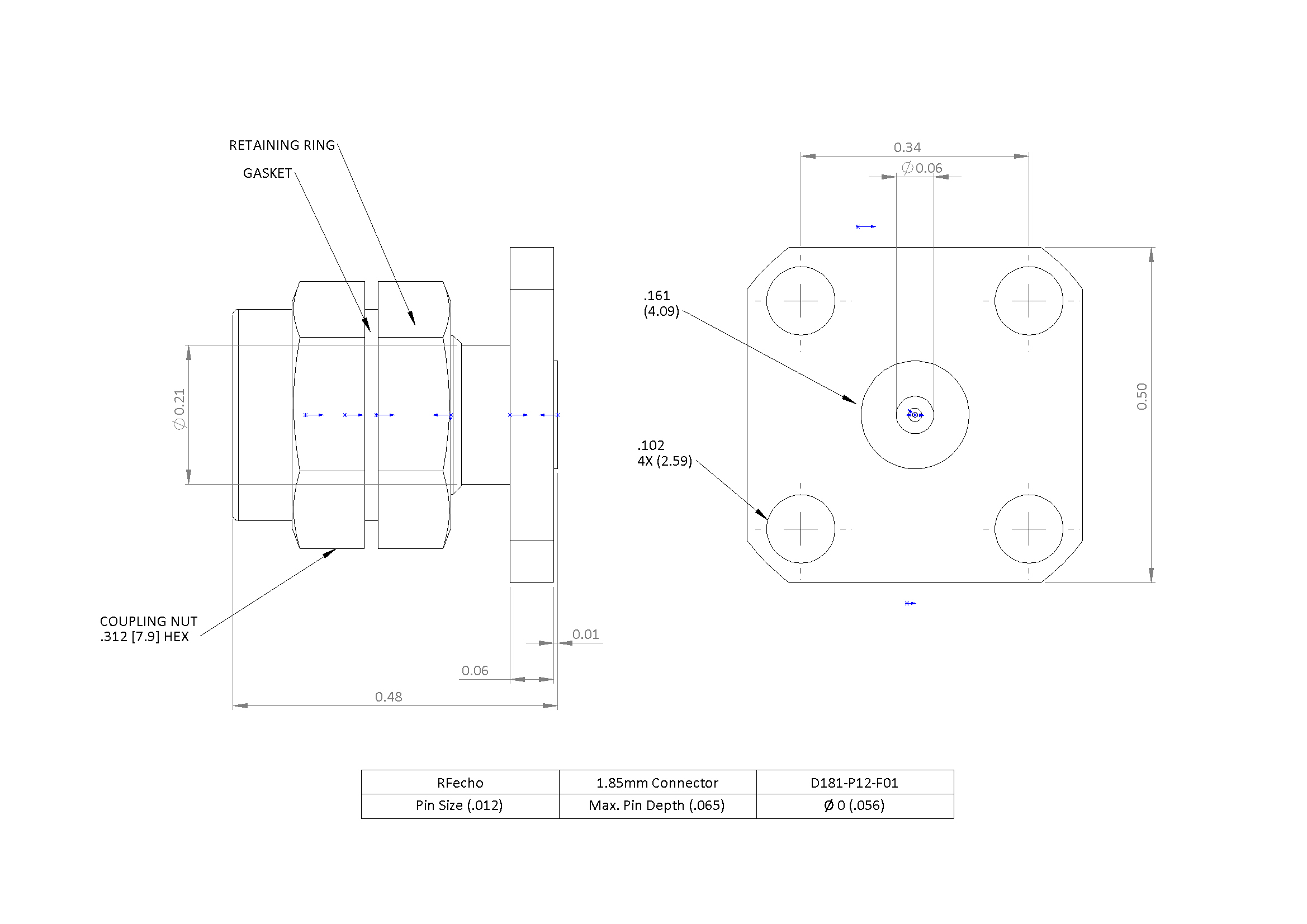 """1.85mm 67 GHz, 0.012"""" Accept Pin Diameter, 4 Hole 0.500″ Square Mounting Flange Male Connector"""