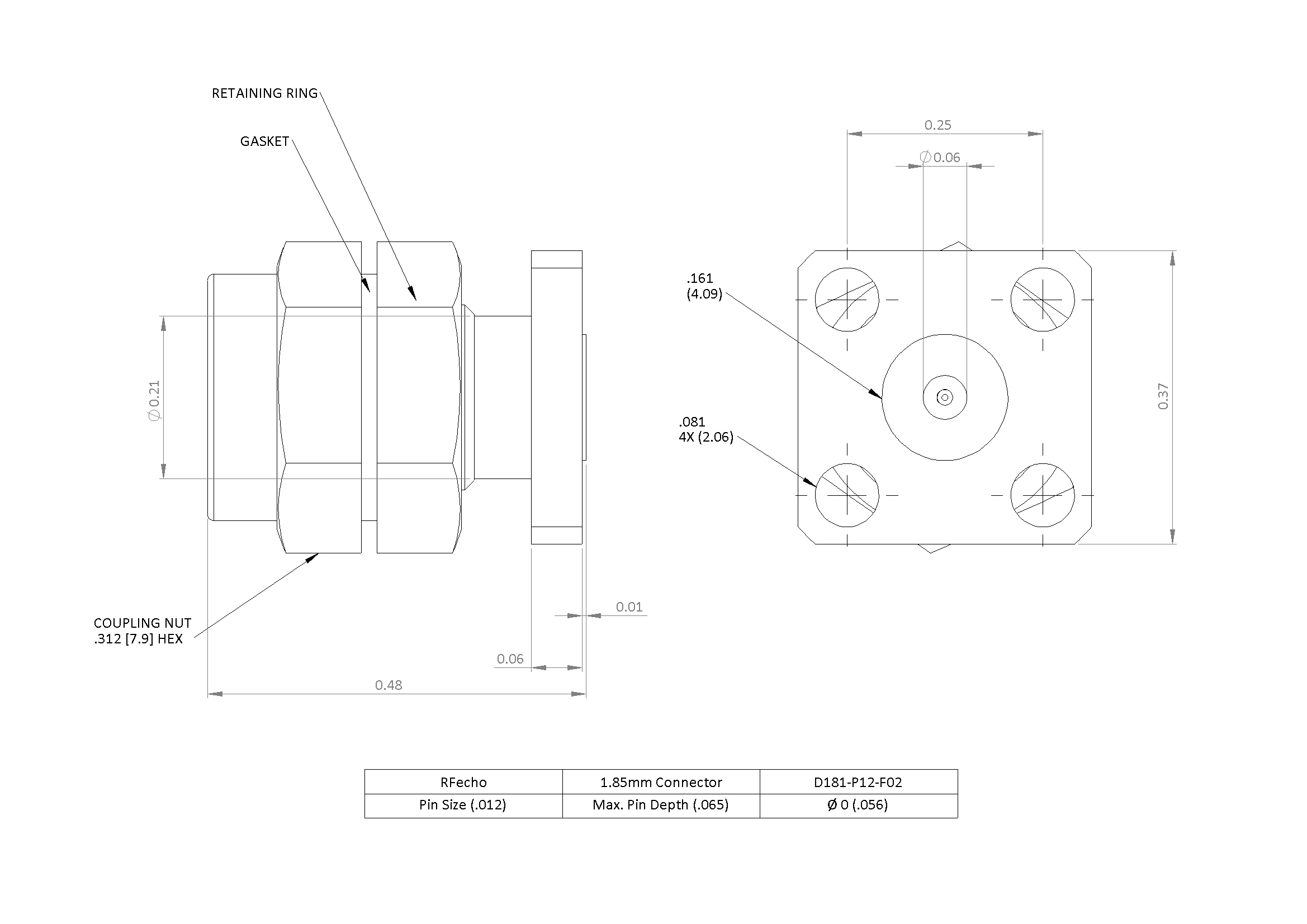 """1.85mm 67 GHz, 0.012"""" Accept Pin Diameter, 4 Hole 0.375″ Square Mounting Flange Male Connector"""