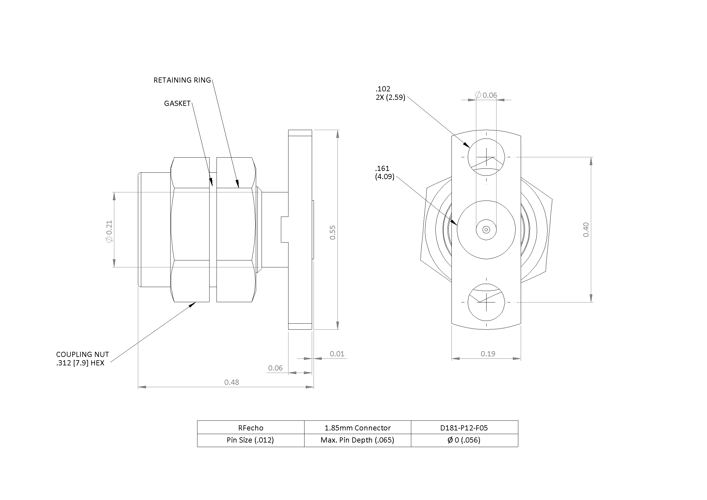 """1.85mm 67 GHz, 0.012"""" Accept Pin Diameter, 2 Hole 0.550″ Long Mounting Flange Male Connector"""