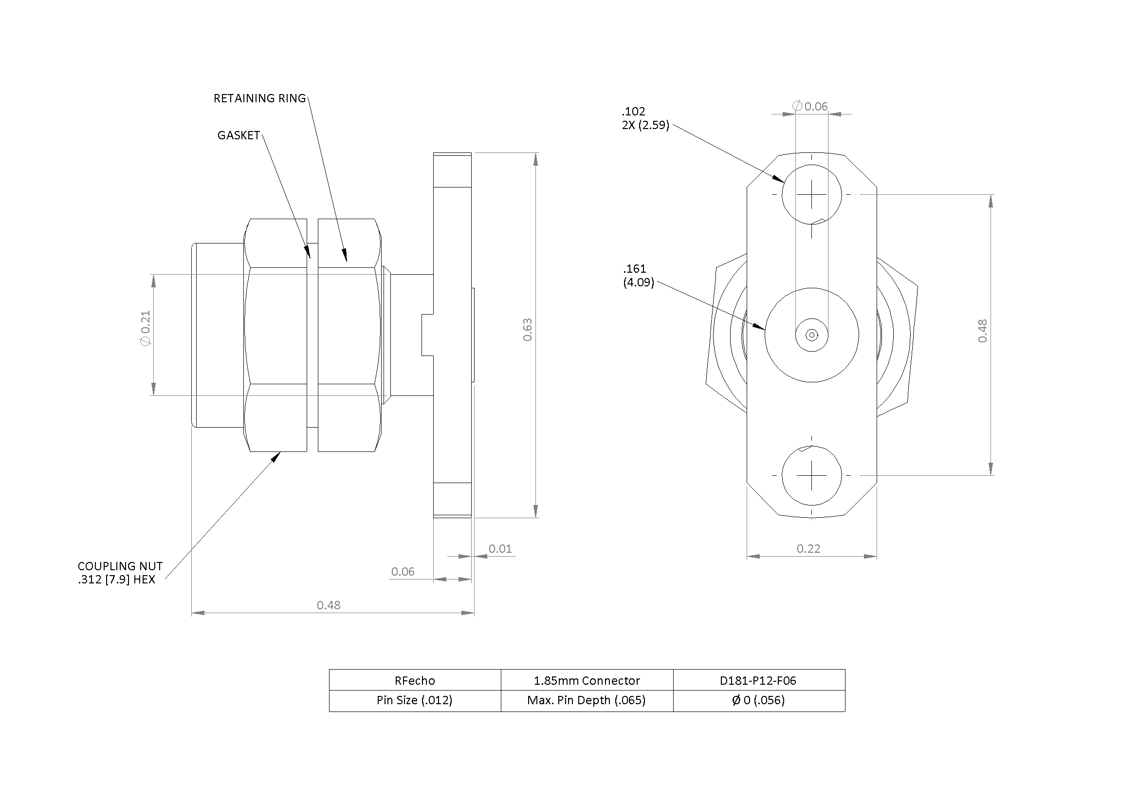 """1.85mm 67 GHz, 0.012"""" Accept Pin Diameter, 2 Hole 0.625″ Long Mounting Flange Male Connector"""