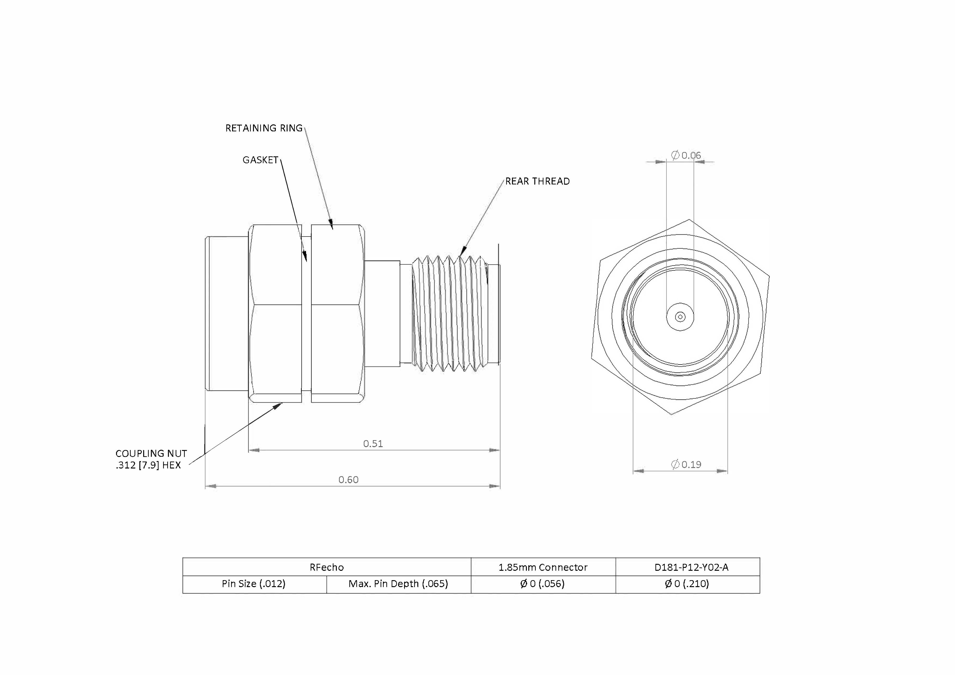 """1.85mm 67 GHz, 0.012"""" Accept Pin Diameter, Thread-In Male Connector"""