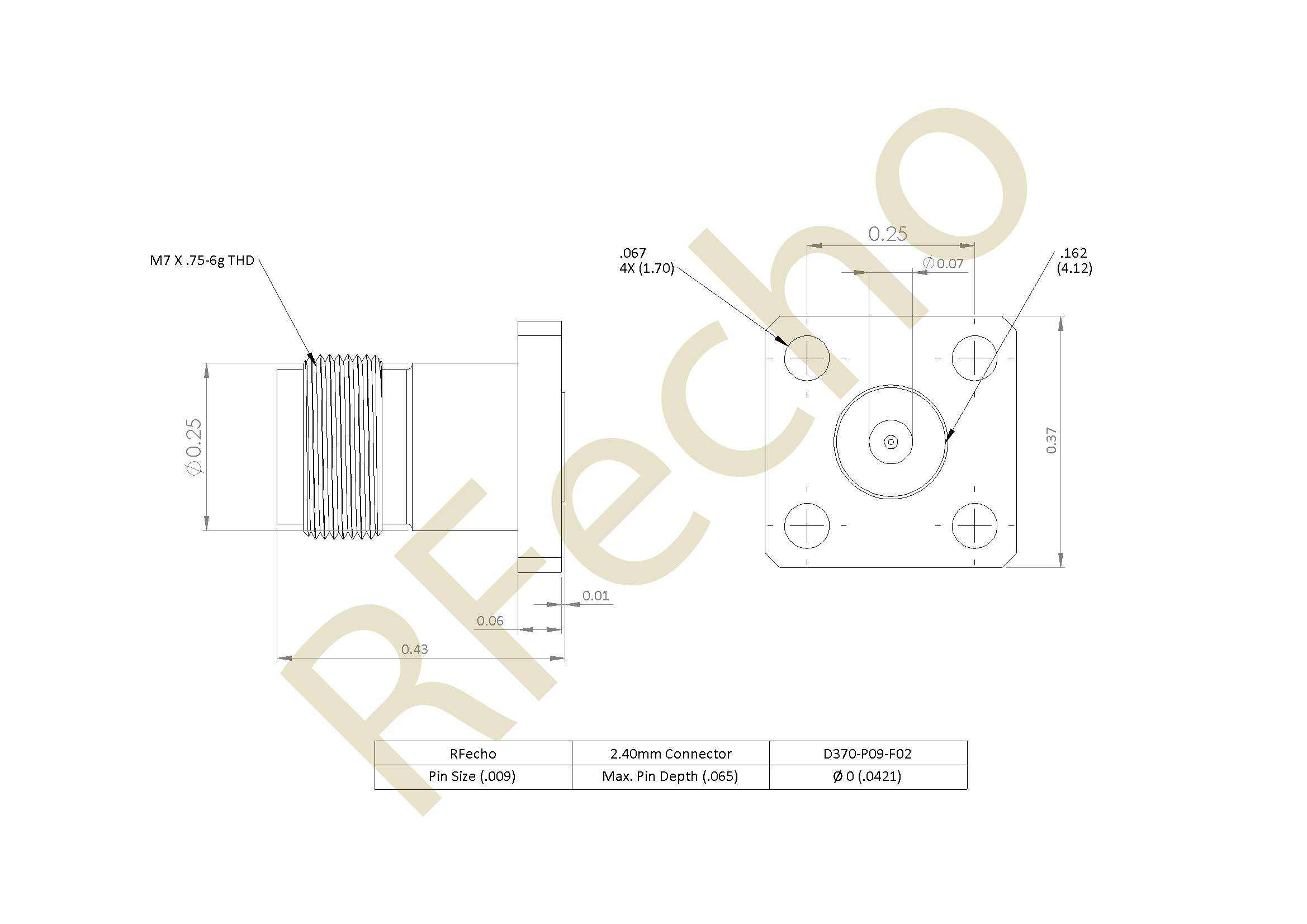 2.40mm 50 GHz, 0.009″ Accept Pin Diameter, 4 Hole .375″ Square Mounting Flange Female Connector