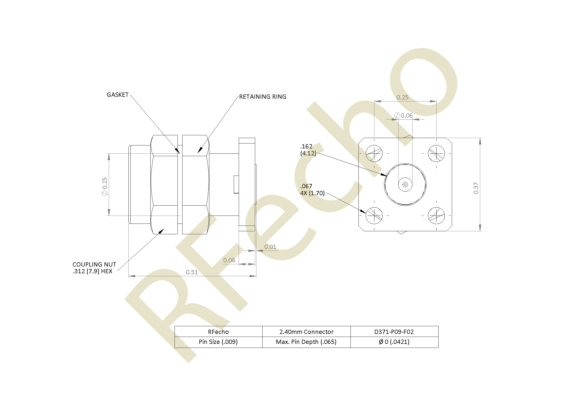 D371 P09 F02 outline 2.40mm 50 GHz, 0.009″ Accept Pin Diameter, 4 Hole .375″ Square Mounting Flange Male Connector