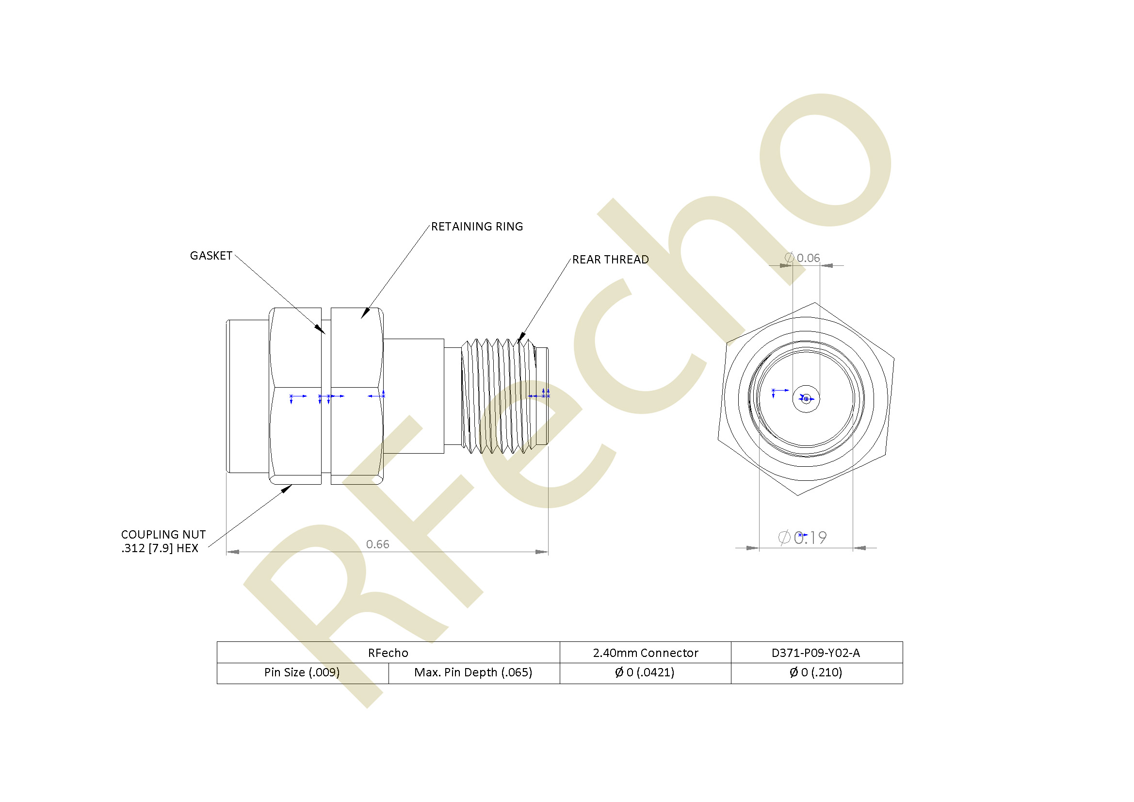 2.40mm 50 GHz, 0.009″ Accept Pin Diameter, Thread-In Male Connector