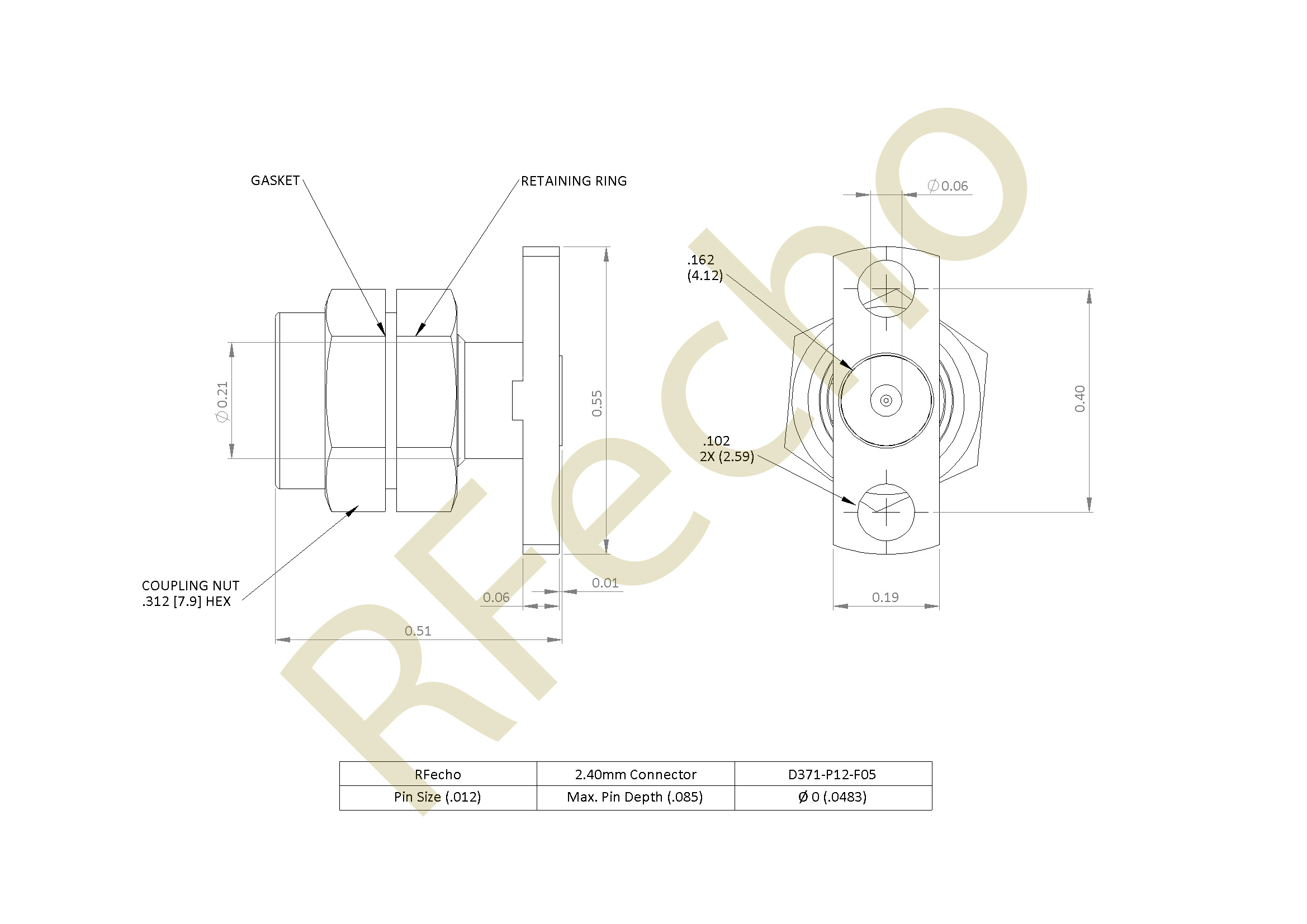 2.40mm 50 GHz, 0.012″ Accept Pin Diameter, 2 Hole .550″ Long Mounting Flange Male Connector