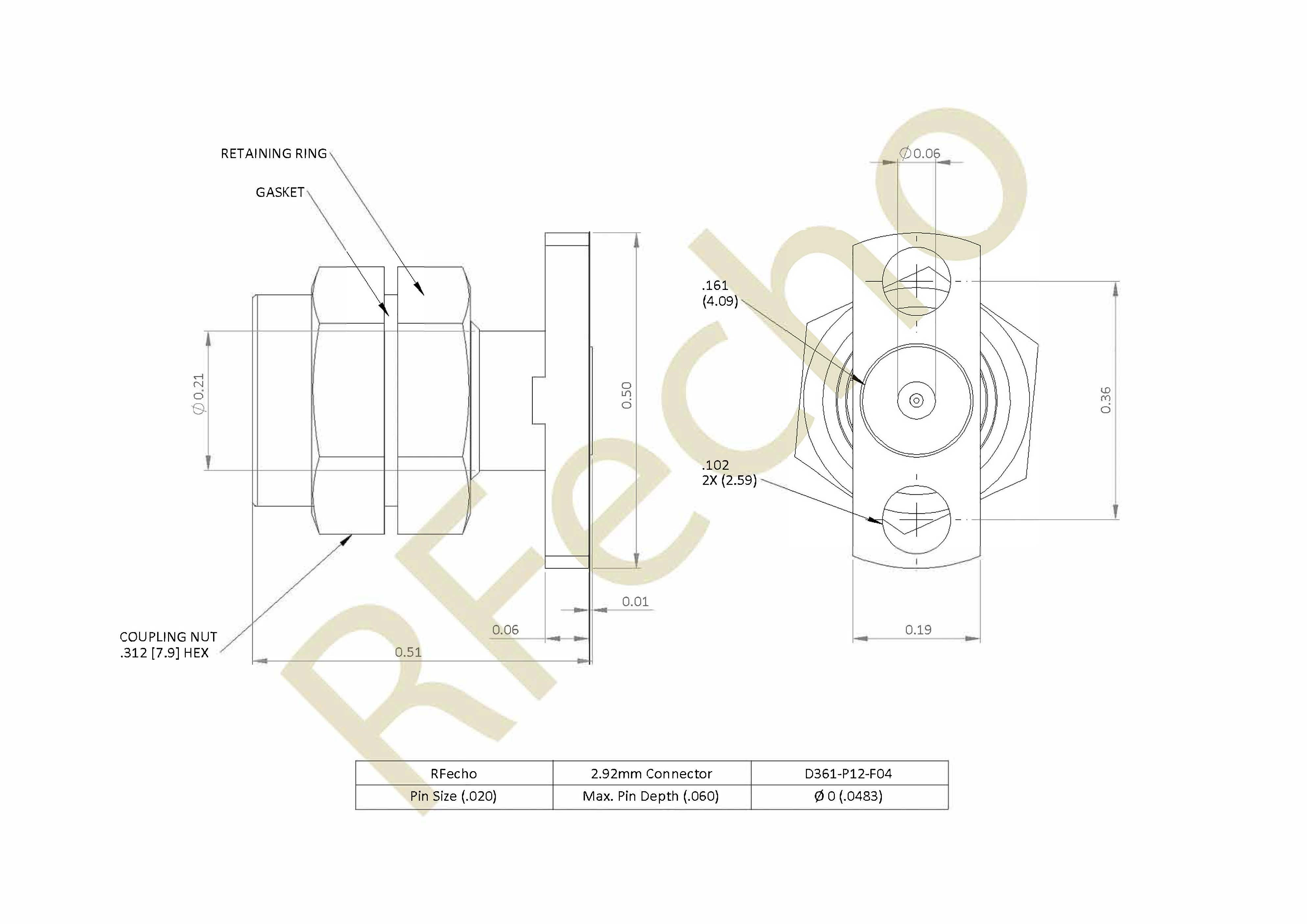 D361 P12 F04 outline 2.92mm 40 GHz, 0.012″ Accept Pin Diameter, 2 Hole .500″ Long Mounting Flange Male Connector