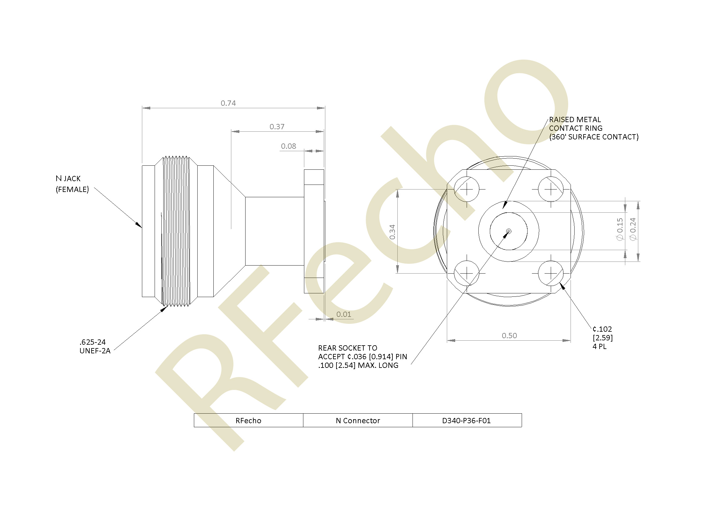 D340 P36 F01 outline N 18 GHz, 0.036″ Accept Pin Diameter, 4 Hole .500″ Square Mounting Flange Female Connector
