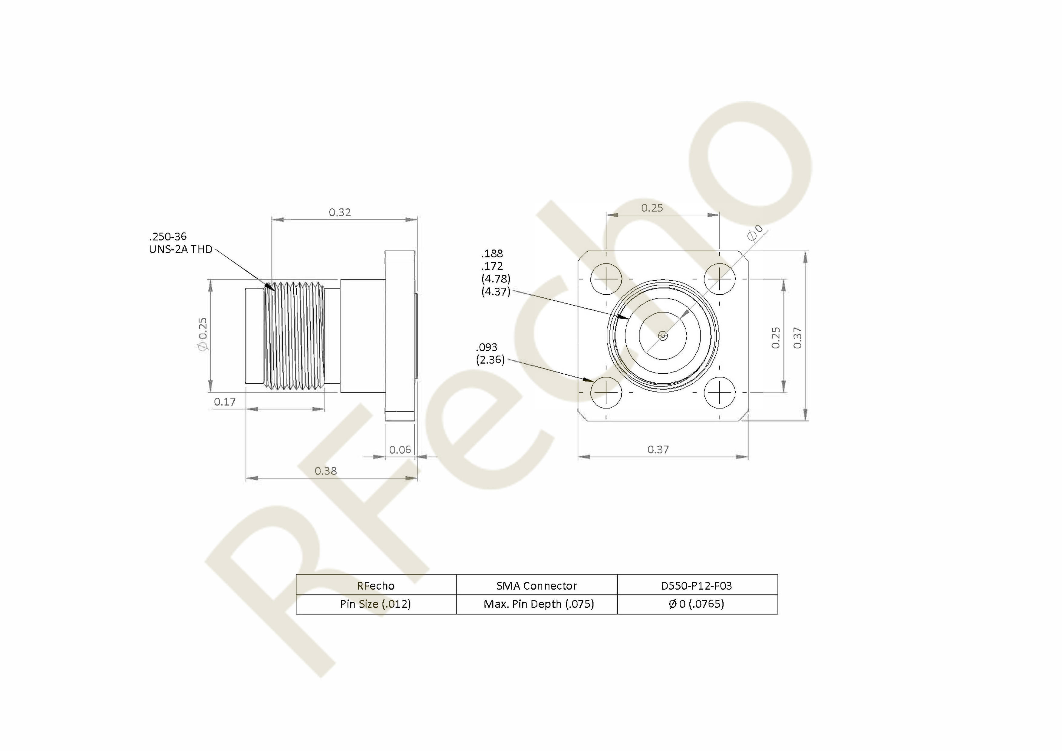 SMA 27 GHz, 0.012″ Accept Pin Diameter, 4 Hole .375 x 500″ Mounting Flange Female Connector