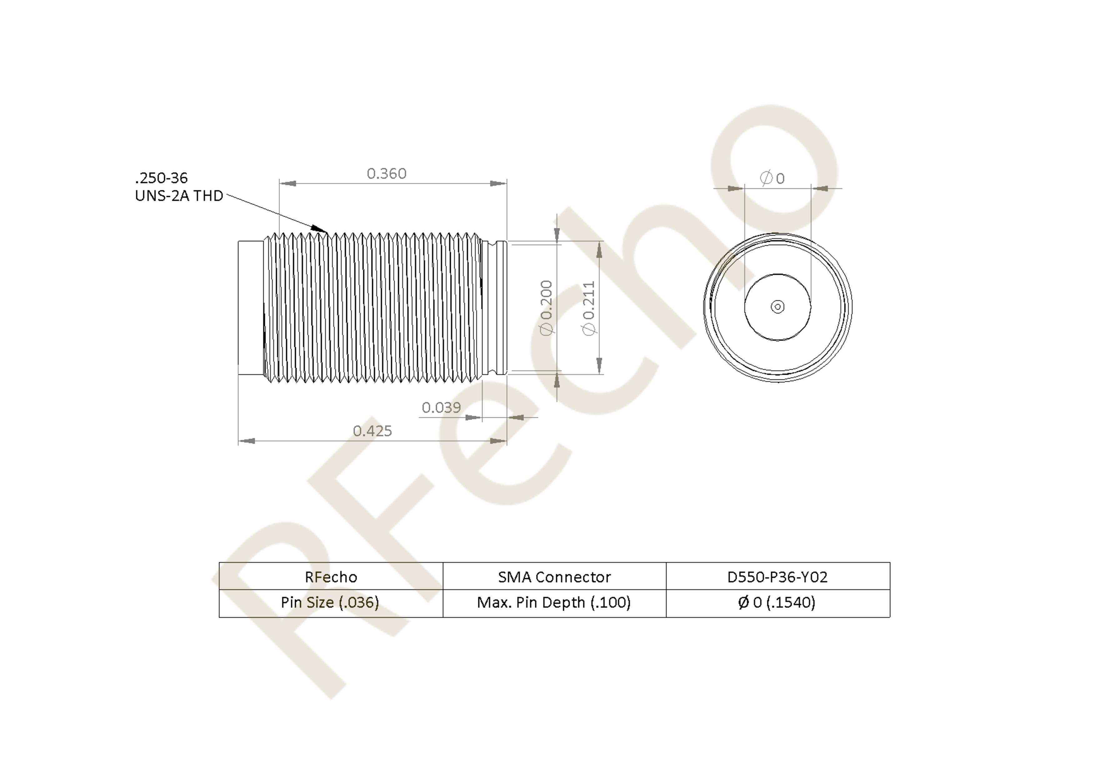 SMA 27 GHz, 0.036″ Accept Pin Diameter, Thread-In Female Connector