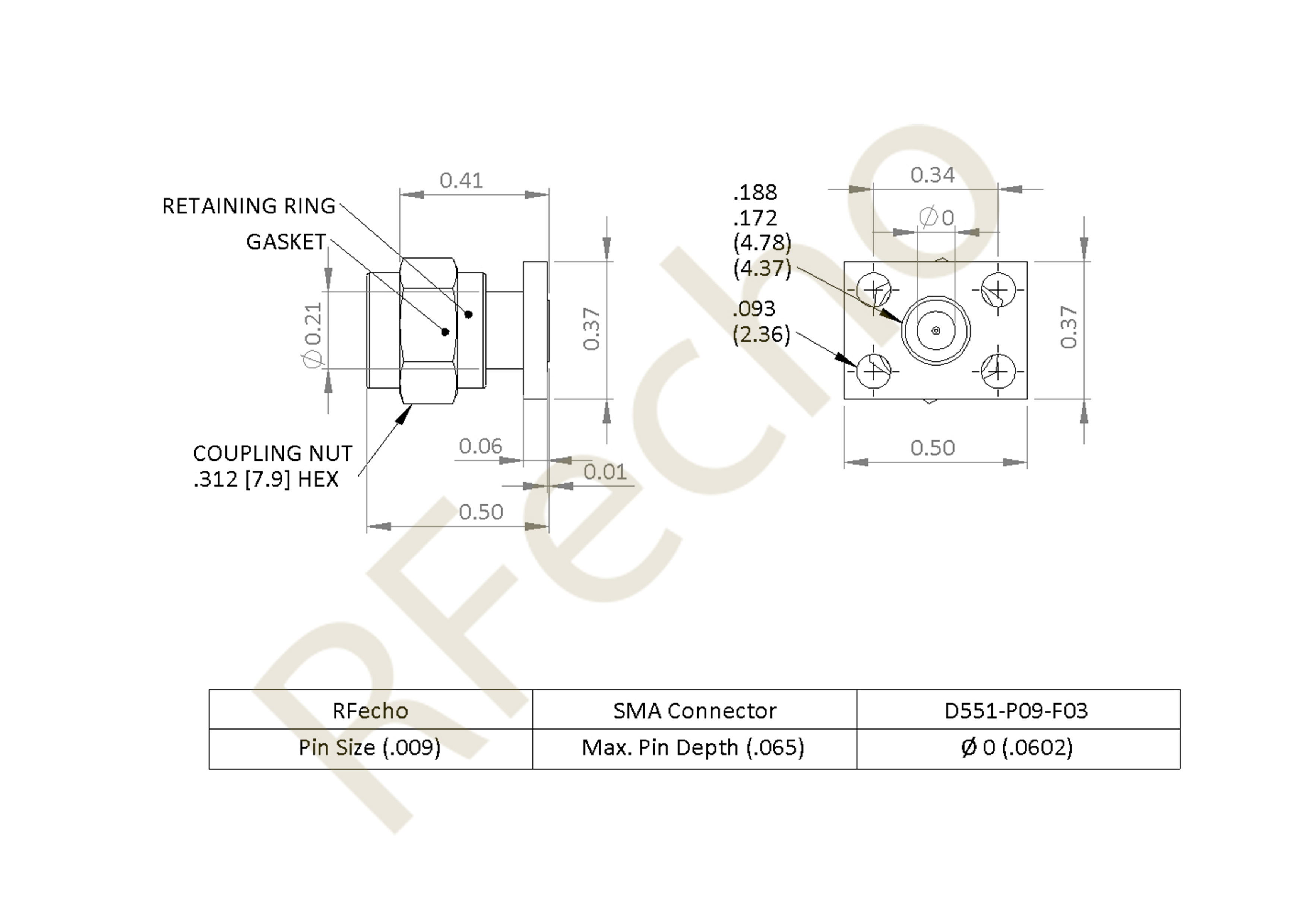 SMA 27 GHz, 0.012″ Accept Pin Diameter, 4 Hole .375 x 500″ Mounting Flange Male Connector