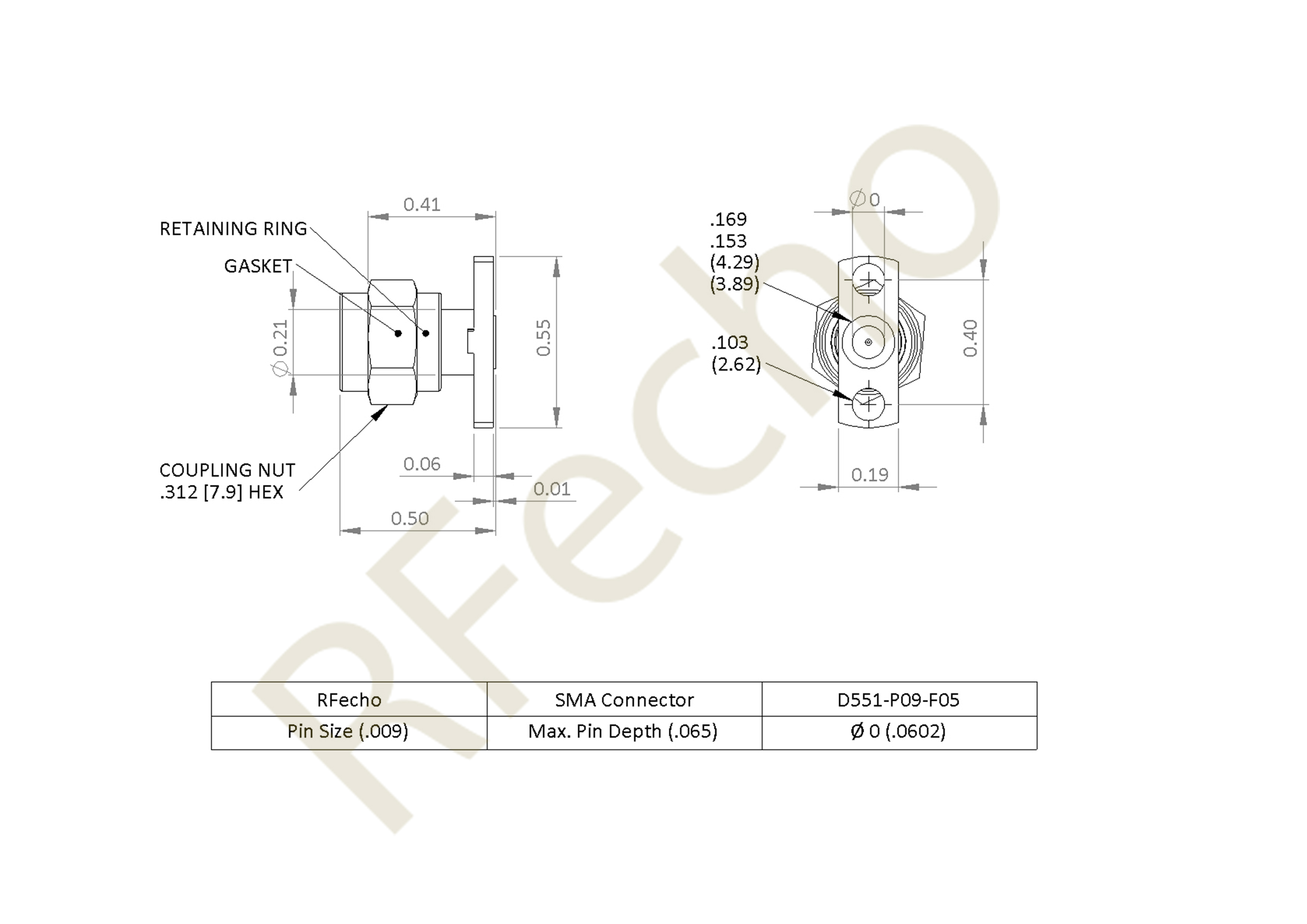 SMA 27 GHz, 0.015″ Accept Pin Diameter, 2 Hole .550 Long″ Mounting Flange Male Connector