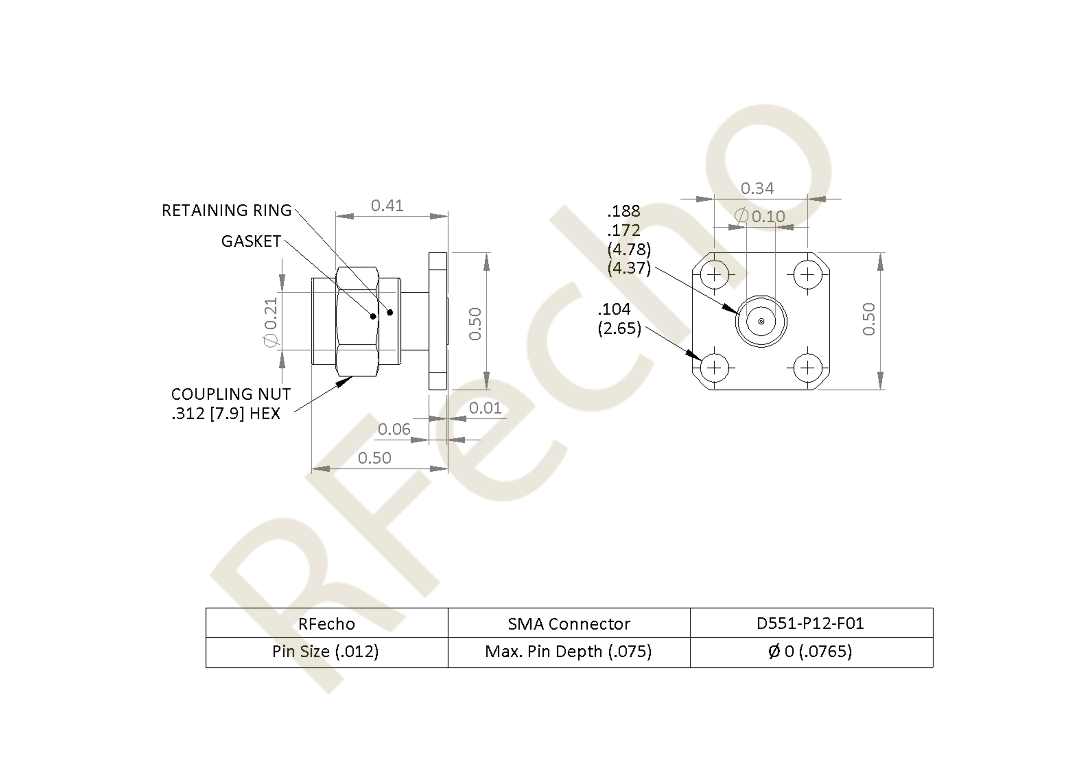 SMA 27 GHz, 0.018″ Accept Pin Diameter, 4 Hole .500 Square″ Mounting Flange Male Connector