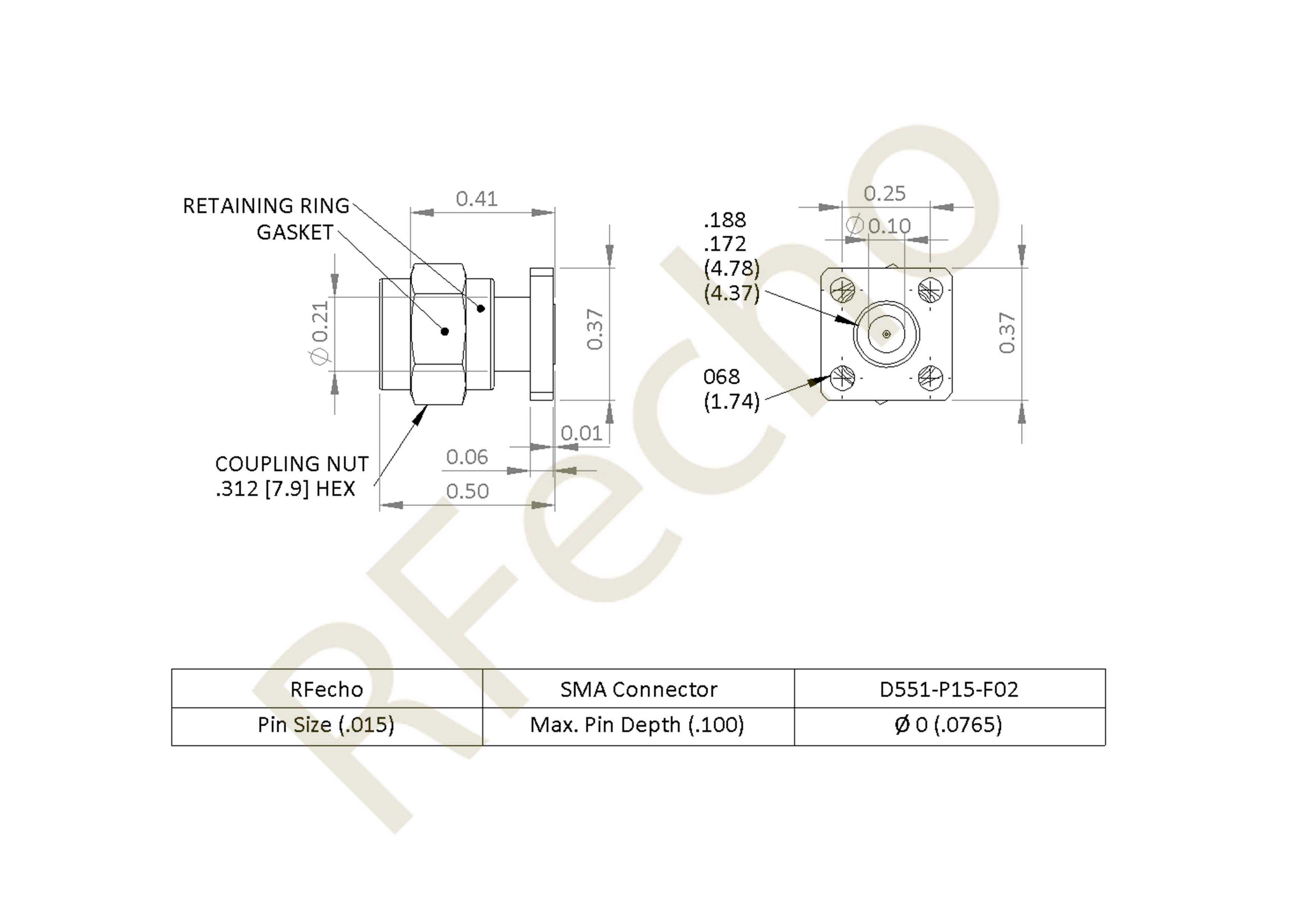 D551 P15 F02 outline SMA 27 GHz, 0.012″ Accept Pin Diameter, 4 Hole .375 Square″ Mounting Flange Female Connector