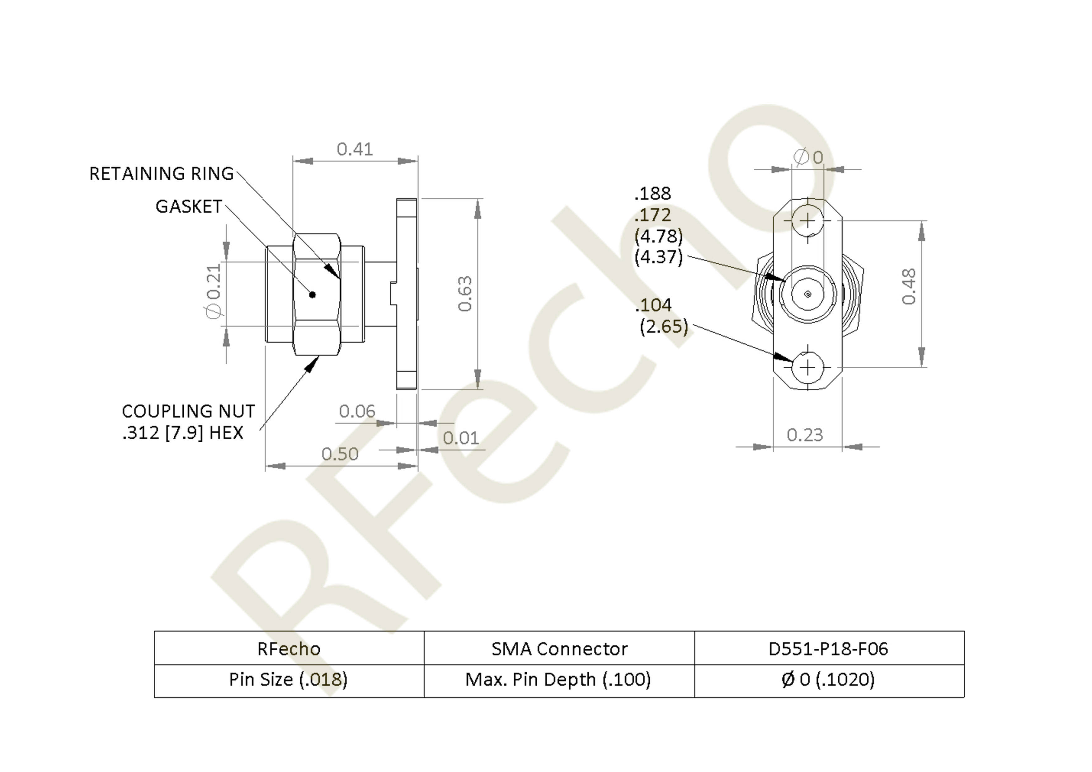 SMA 27 GHz, 0.018″ Accept Pin Diameter, 2 Hole .625 Long″ Mounting Flange Female Connector