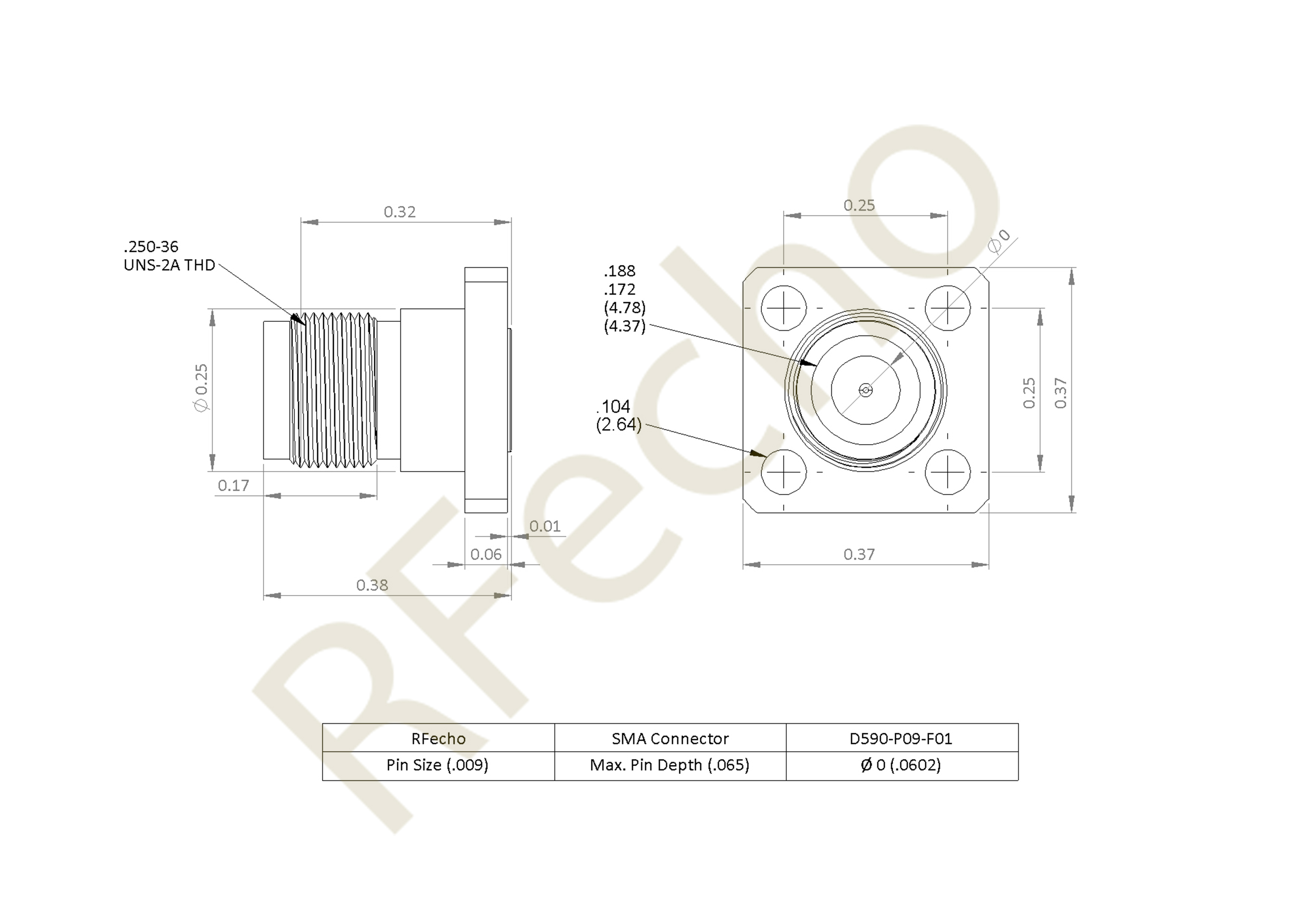 D590 P09 F01 outline SMA 27 GHz, 0.02″ Accept Pin Diameter, 4 Hole .500 Square″ Mounting Flange Male Connector