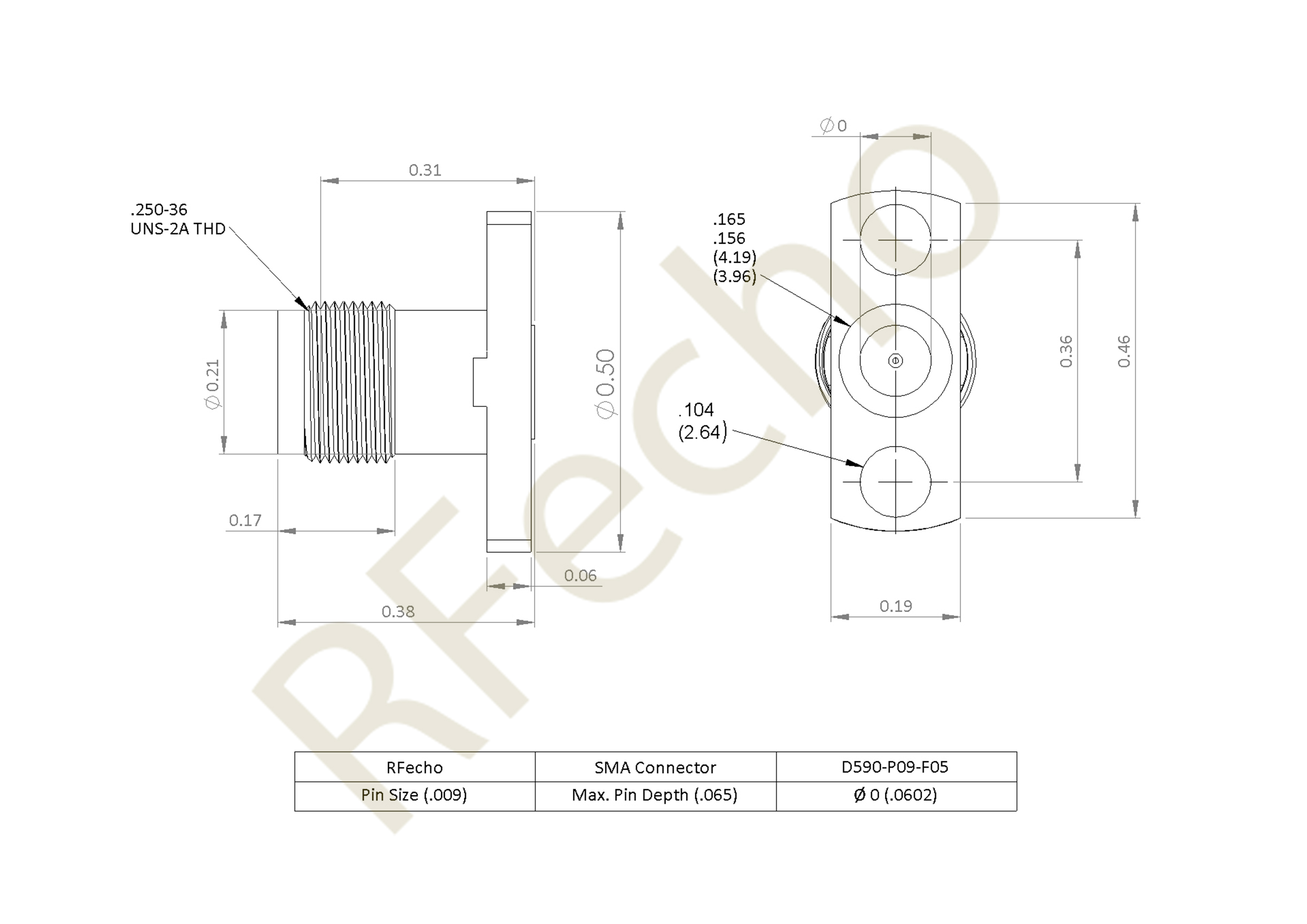 SMA 27 GHz, 0.009″ Accept Pin Diameter, 2 Hole .550 Long″ Mounting Flange Male Connector