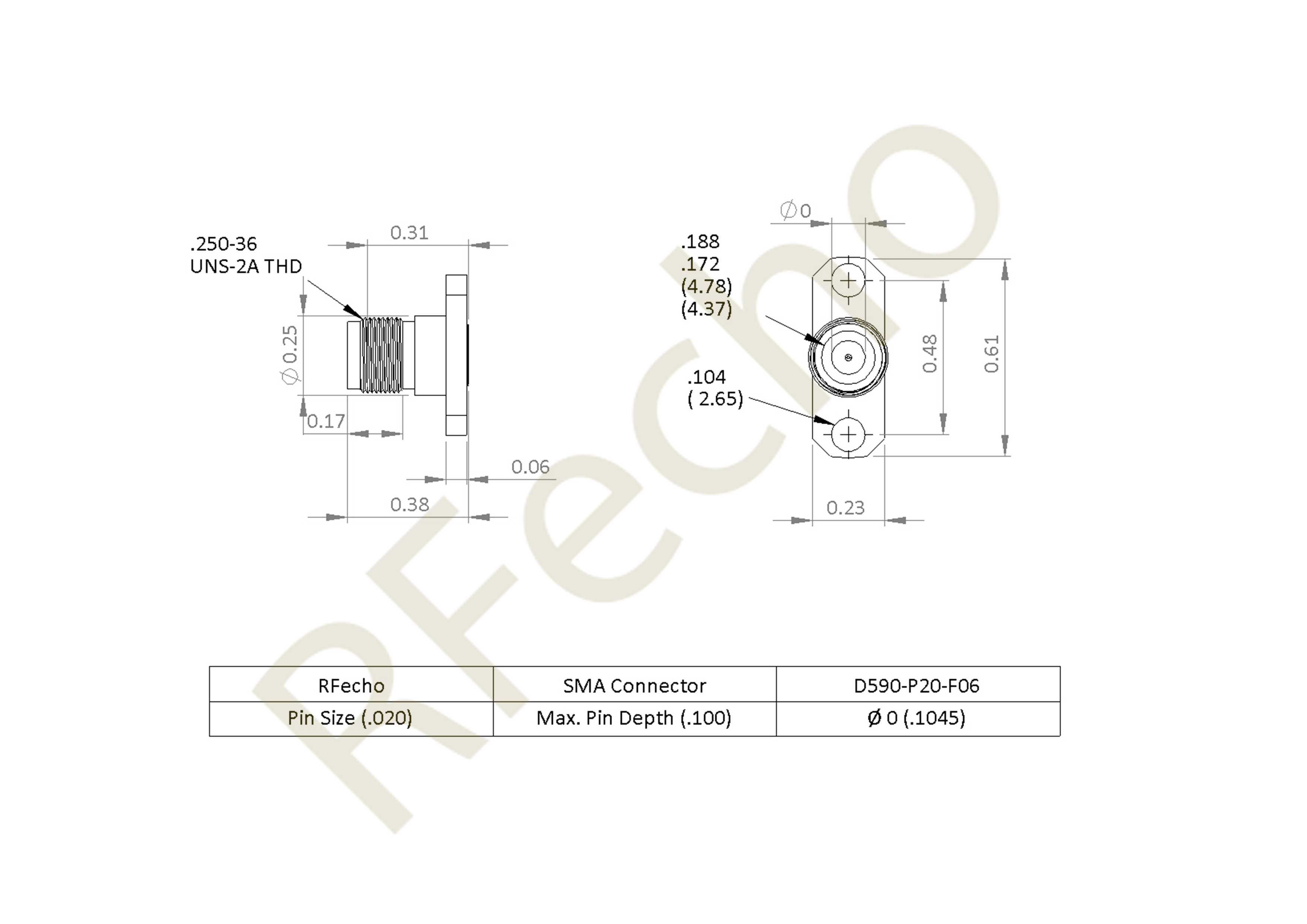 SMA 27 GHz, 0.02″ Accept Pin Diameter, 2 Hole .625 Long″ Mounting Flange Male Connector