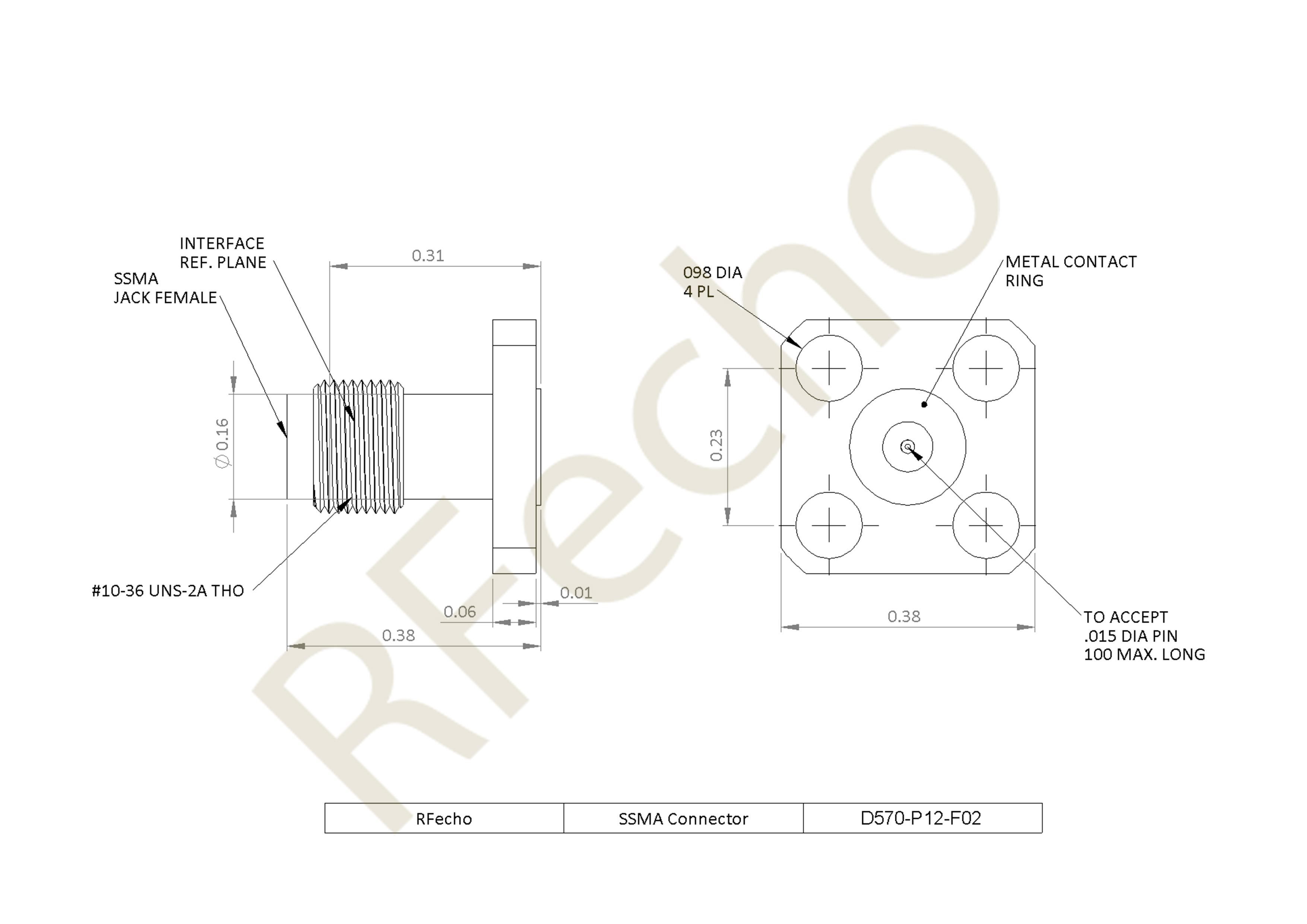 """SSMA 36 GHz, 0.012"""" Accept Pin Diameter, 4 Hole 0.375"""" Square Mounting Flange Female Connector"""