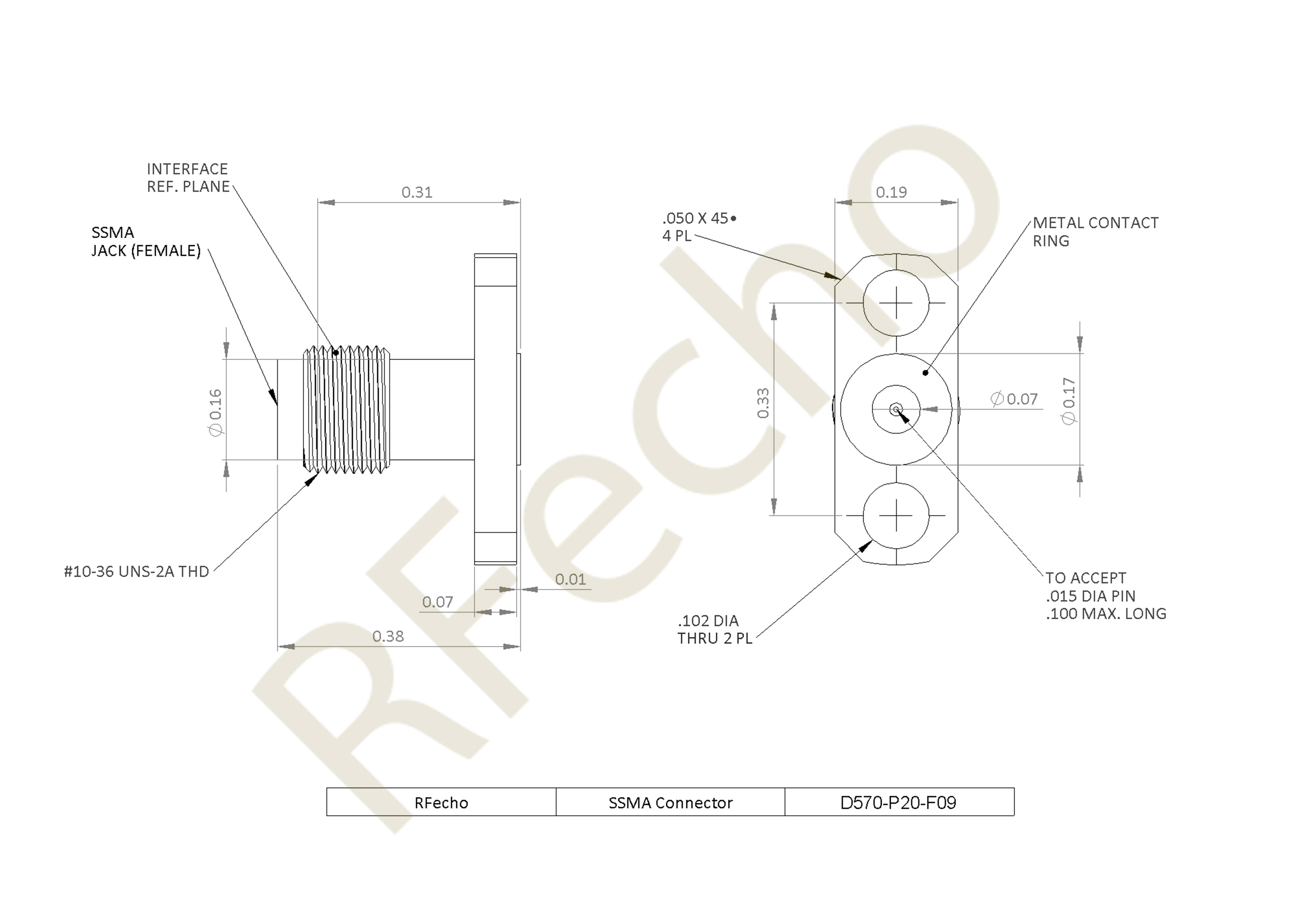 """SSMA 36 GHz, 0.02"""" Accept Pin Diameter, 2 Hole 0.480"""" Long Mounting Flange Female Connector"""