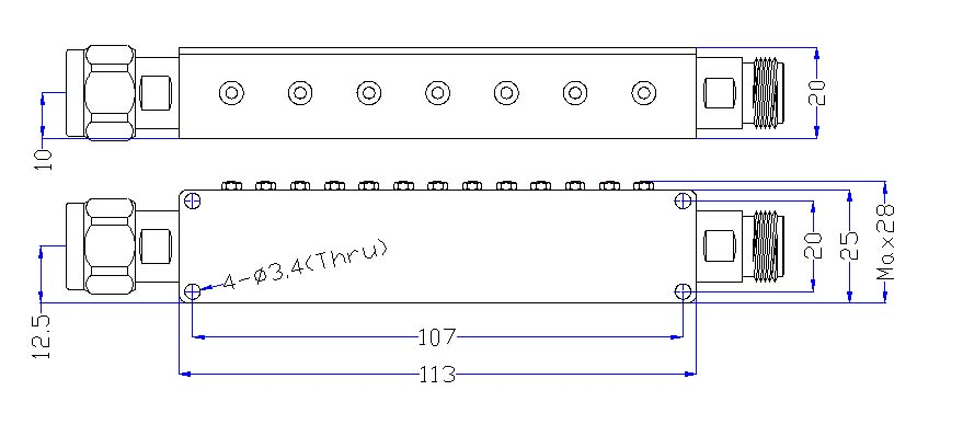 OBP 2312.5 185 outline Cavity Band Pass OBP-2312.5-185