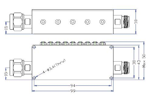 OBP 847 30 A outline Cavity Band Pass OBP-847-30-A