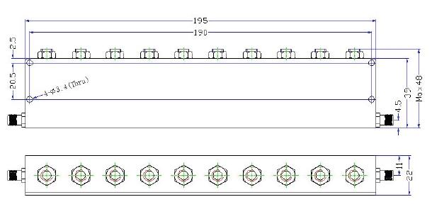 OBR 2350 100 outline Cavity Band Rejection Filter OBR-2350-100
