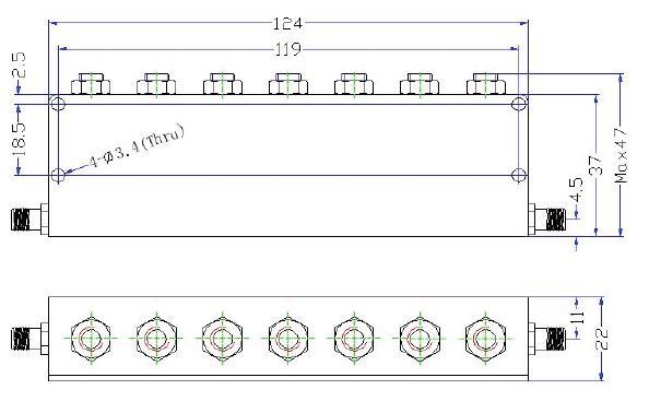 OBR 2442 83 outline Cavity Band Rejection Filter OBR-2442-83