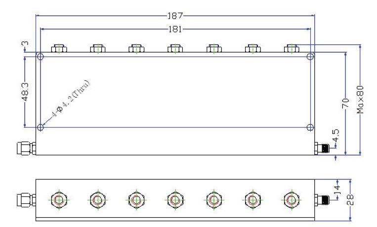 OBR 890 60 outline Cavity Band Rejection Filter OBR-890-60