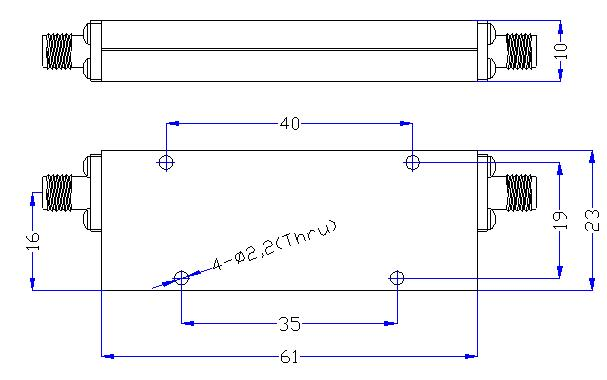 1.0 GHz to 10 GHz Rejection ≥50 dB @ DC - 0.78 GHz High Pass Cavity Filter 01