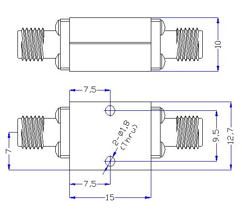 10.5 GHz to 40 GHz Rejection ≥50 dB @ DC-8.5 GHz High Pass Cavity Filter 01