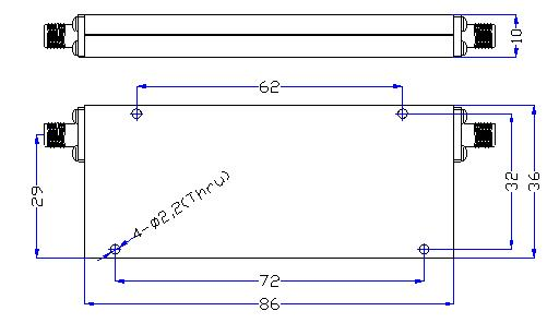 1.25 GHz to 7 GHz Rejection ≥60 dB @ DC -1.04 GHz High Pass Cavity Filter 01