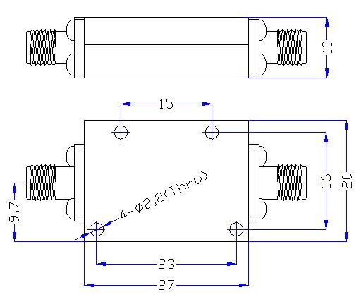 12.5 GHz to 24.5 GHz Rejection ≥60 dB @ DC-11.4 GHz High Pass Cavity Filter 01