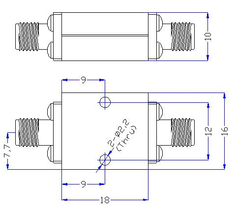 18.0 GHz to 28 GHz Rejection ≥60 dB @ DC-16 GHz High Pass Cavity Filter 01
