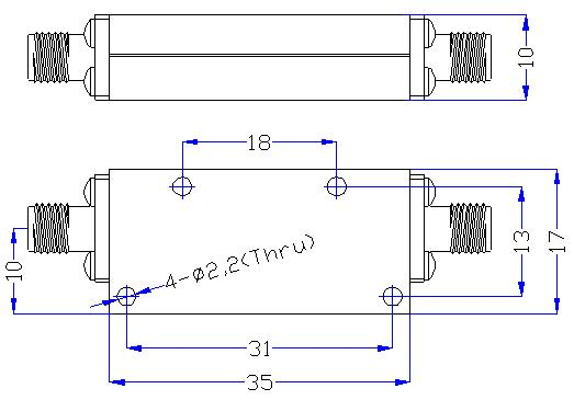 2.5 GHz to 20 GHz Rejection ≥50 dB @ DC -1.98 GHz High Pass Cavity Filter 01