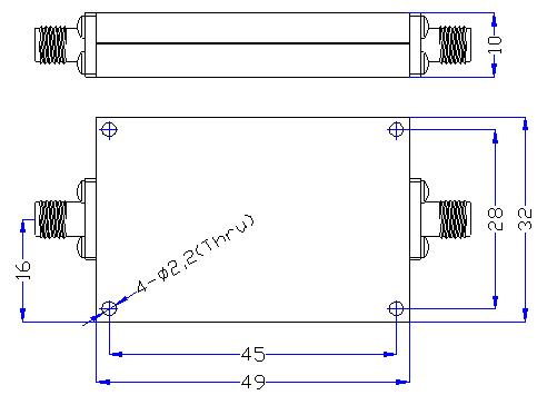 2.6 GHz to 6 GHz Rejection ≥50 dB @ DC -2.3 GHz High Pass Cavity Filter 01