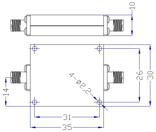 3.0 GHz to 12.5 GHz Rejection ≥50 dB @ DC-2500MHz High Pass Cavity Filter 01
