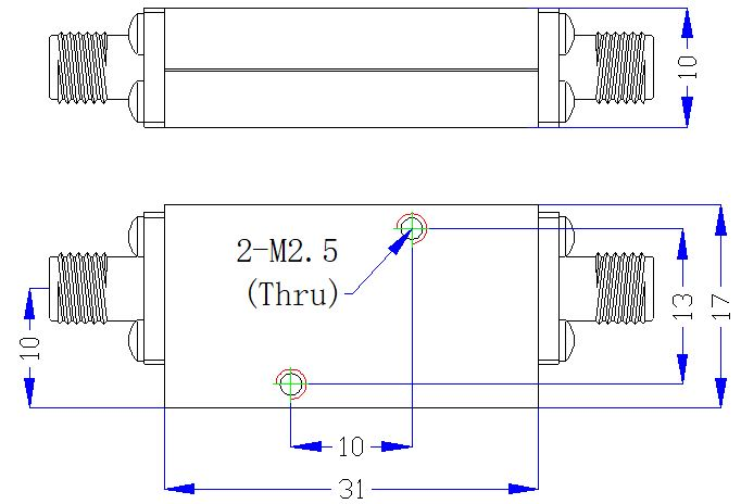 3.0 GHz to 18 GHz Rejection ≥22 dB @ 2.5 GHz High Pass Cavity Filter 01