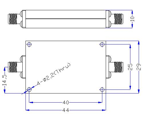 3.0 GHz to 18 GHz Rejection ≥60 dB @ DC -2.6 GHz High Pass Cavity Filter 01