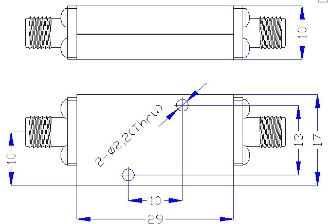 3.3 GHz to 18 GHz Rejection ≥40 dB @ DC-2700MHz High Pass Cavity Filter 01