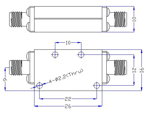 3.75 GHz to 23 GHz Rejection ≥50 dB @ DC -3.03 GHz High Pass Cavity Filter 01